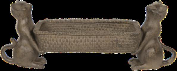 Clayre & Eef Serveerschaal 6PR2850 48*14*17 cm Grijs Kunststof Rechthoek Katten Kaarsenplateau Dienblad Decoratie Schaal