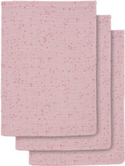 Roze Jollein Mini dots hydrofiele washandjes 15x20 cm blush pink - set van 3