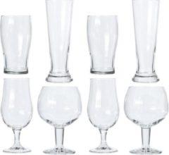 Transparante Merkloos / Sans marque Verschillende bierglazen set 8 stuks - Glazen voor bier - Speciaal bier - Proefglazen set
