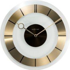 NeXtime Retro - Klok - Stil Uurwerk - Rond - Glas - Ø31 cm - Transparant /Goud