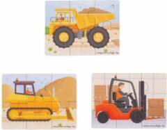 Bigjigs Toys Bigjigs puzzel bouw werktuigen - 3 puzzel met 6 stukjes