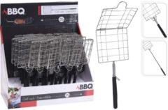 Zilveren BBQ grillrek uitschuifbaar - 60 cm