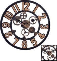XL Grote Ronde Wandklok Industrieel 60 Cm met Tandwielen en Cijfers - Wand Klok Modern / Landelijk Rond Brons / Zwart/ Hout - Industriële Wandklokken met Tand Wielen - Keukenklok - Muurklok Wand Klok - Afm. 60 x 60 Cm - Decopatent®