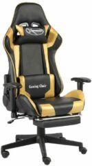VidaXL Gamestoel draaibaar met voetensteun PVC goudkleurig