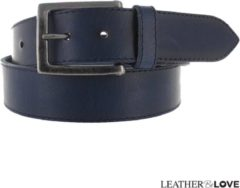 Donkerblauwe Leatherbelove JOB86 JOB86 Unisex Broekriem Blauw 115 cm