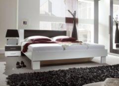 Bett 180 x 200 cm weiss/ Kernnussbaum schwarz Helvetia Vera
