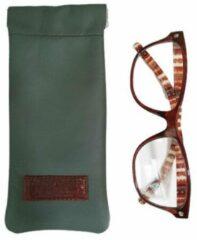 Toetie & Zo Handgemaakte Leren Brillenkoker Groen - Knijpsluiting - Brillenetui - Brillentas - Leder - Snappouch