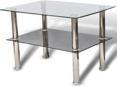 Zilveren VidaXL Salontafel met 2 lagen glas