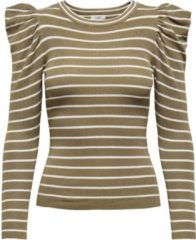 Bruine Jacqueline De Yong Jdycerol L/s Pullover Knt 15215422 Lead Gray/stripes