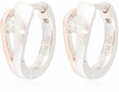 Elegance Zilveren Oorbellen klapcreolen met zirconia rosékleurig 107.5411.00