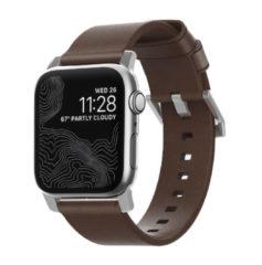 Nomad Modern Apple Watch bandje 42mm / 44mm - Bruin met zilveren gesp
