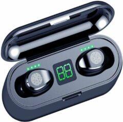 TURE WIRELESS STEREO - Draadloze Buds oordopjes / oortjes - Luxe indicator & Telefoon houder in 1 - Geschikt voor alle smartphones te verbinden met o.a Samsung & Iphone airpods - Zwart.