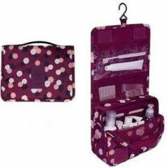 Marirosa Toilettas Paars met Bloemen - Cosmetic Bag - Met Haak - Travel bag - Organizer voor toiletartikelen - Reisartikelen - Dames - Vrouwen - Meisjes