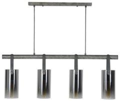 Zaloni Hanglamp Denny 4L verchroomd glas 100 cm breed - Zilver