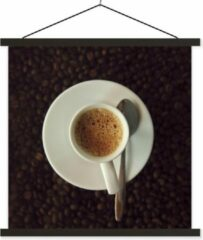 TextilePosters Kopje espresso op koffiebonen schoolplaat platte latten zwart 90x90 cm - Foto print op textielposter (wanddecoratie woonkamer/slaapkamer)
