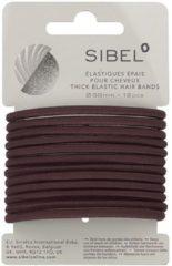 Bruine Sibel - Thick Elastic Hair Bands - Brown - 12 Stuks