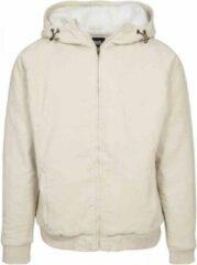 Creme witte Urban Classics Vest met capuchon -M- Corduroy Creme/Wit