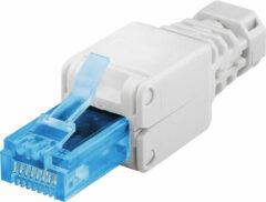 Blauwe Goobay RJ45 toolless connector voor CAT6a UTP netwerkkabel