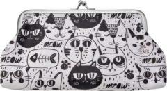Zwarte Clayre & Eef Melady - portemonnee 18*10 cm multi - multi - kunststof - rechthoekig - katten - MLSBS0037-26