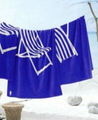 Blauwe Seahorse strandlaken katoen Take a seat blue 100 x 180 cm