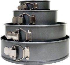 Krumble Springvorm set - 4 delig - Ø 26/24/18/12 cm - Set van vier spring bakvormen - Taartvorm - Bakvorm - Anti-aanbak - Bakblik - Grijs