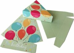 Groene Presentdoosjes.nl Presentdoosje Taartpunt doosje Happy Birthday: 14 x 11,5 x 4cm (10 stuks)
