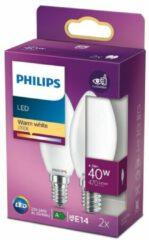 Philips Lighting LED-lamp Energielabel A++ (A++ - E) E14 Kaars 4.3 W = 40 W Warmwit (Ø x l) 3.5 cm x 9.7 cm 2 stuk(s)