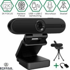Riffaa 2K Webcam Focus SE - Ultra Scherp op Korte Afstanden - Webcams met Microfoon - Webcam Cover - Streaming Webcam - Webcam voor PC - Full HD webcam - Meeting Conference - Anti Ruis Webcam - Windows & Apple/Mac - 2160p - Twitch - Skype - Zoom