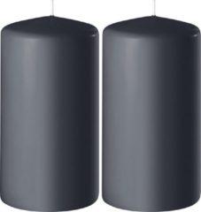 Enlightening Candles 2x Antraciet grijze cilinderkaarsen/stompkaarsen 6 x 12 cm 45 branduren - Geurloze kaarsen antraciet grijs - Woondecoraties