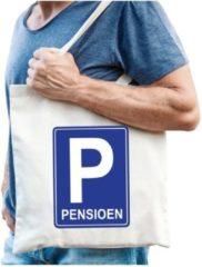 Creme witte Bellatio Decorations Pensioen katoenen cadeau tas beige voor heren - Pensioen / VUT kado shirt