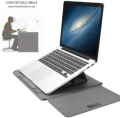 Ntech New Macbook Air 2018 13.3 Inch Sleeve 4 piece set Spatwater proof Hoes met handvat - Grijs