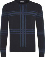 Blauwe TRESANTI Pullover - Geruite pullover - Pullover katoen/cashmere