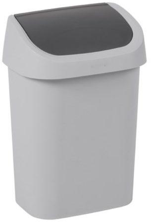 Afbeelding van Curver vuilnisbak Mistral Swing recycled PVC lichtgrijs antraciet 10L