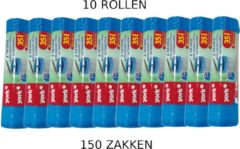 Blauwe York Afvalzakken met trekband | Inhoud 35l | 10 rollen = 150 zakken | Voordeelverpakking | 50 x 60cm | Extra sterk 15µm | Vuilniszakken