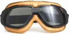 Pothelm.nl Retro camel leren motorbril donker glas