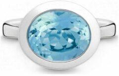 QUINN - Ring - Dames - Zilver 925 - Edelsteen - Blauwe topaas - Breedte 56 - 21403658