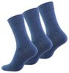 Blauwe Bamboesokken.net Katoenen sokken – 3 paar – jeans blauw – zonder elastiek – zonder teennaad – maat 43/46