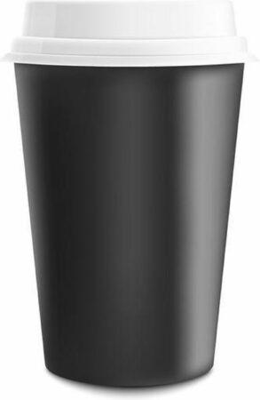 Afbeelding van Packadi Kartonnen Koffiebeker 8oz 240ml zwart + witte deksels - 100 Stuks - wegwerp papieren bekers - drank bekers - milieuvriendelijk