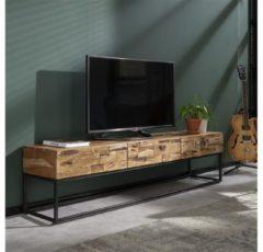 Bruine Livin24 Tv-meubel Brick - Acaciahout & metaal - 3 lades - 40x180x46 cm