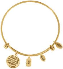 Goudkleurige CO88 Collection 8CB-13006 - Stalen bangle met bedels - affirmaties, joy en smile - one-size - goudkleurig