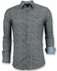 Tony Backer Luxe Italiaanse Overhemden - Pointed Star Blouse Mannen - 3015 - Blauw Casual overhemden heren Heren Overhemd Maat 3XL