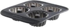 Grijze Mastrad Cakevorm Kouglofs - Siliconen - Voor 4 stuks - Zwart