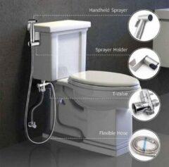 Zilveren Merkloos / Sans marque Handheld Bidet Sproeier Set Kit Rvs Hand Bidet Kraan Voor Badkamer Handspuit Douchekop Zelfreinigend