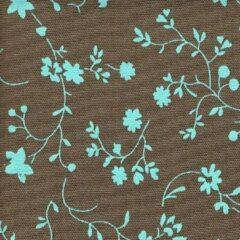 Acrisol Erei Piedra 204 bruin blauw gebloemd stof per meter buitenstoffen, tuinkussens, palletkussens
