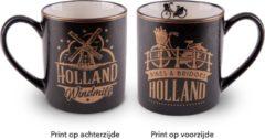Goudkleurige Matix Mok Amsterdam Bikes & Bridges 10 Cm Keramiek Goud/zwart
