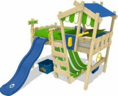 Groene WICKEY CrAzY Hutty - Kinderbed - Blauwe glijbaan