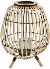 Merkloos / Sans marque Bamboe Lamp Standaard - Bamboe Windlicht - Decoratieve Bamboe Lantaarn - Verlichting - 3 Poten - Inclusief glazen potje voor Kaars of LED-Lamp - 27x37 cm - Duurzaam - Standaard met drie poten - Lantaarn - Windlicht - Windlight - Lan