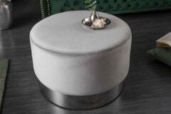 Interieurs online Elegante poef fluweel grijs zilver 55 cm