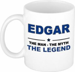 Bellatio Decorations Naam cadeau Edgar - The man, The myth the legend koffie mok / beker 300 ml - naam/namen mokken - Cadeau voor o.a verjaardag/ vaderdag/ pensioen/ geslaagd/ bedankt