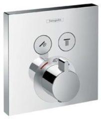 Hansgrohe ShowerSelect afbouwdeel voor inbouwkraan thermostatisch met 2 stopkranen voor 2 douchefuncties chroom 15763000